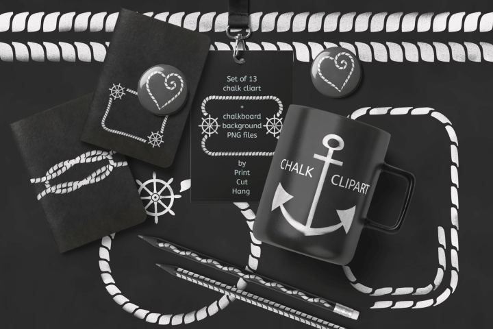Nautical Clipart Set White Chalk PNG Files