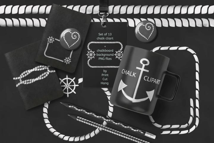 Nautical Clipart Set White Chalk PNG Files