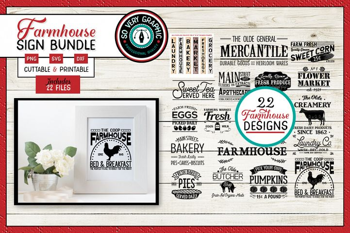 Vintage Farmhouse Sign Bundle | 22 Designs | SVG | PNG | DXF