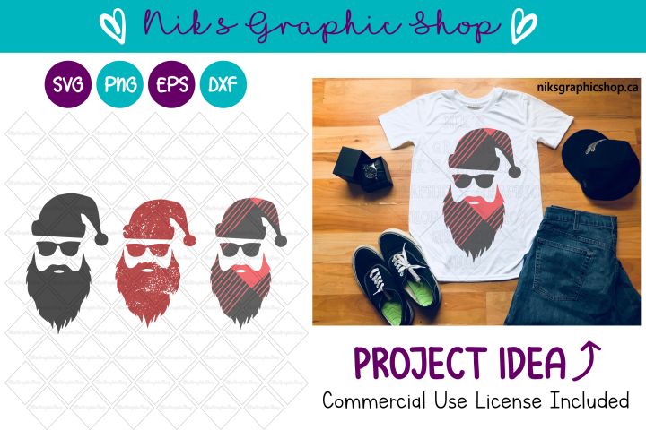 Hipster Santa Svg, Buffalo Plaid Svg, Santa Svg Bundle