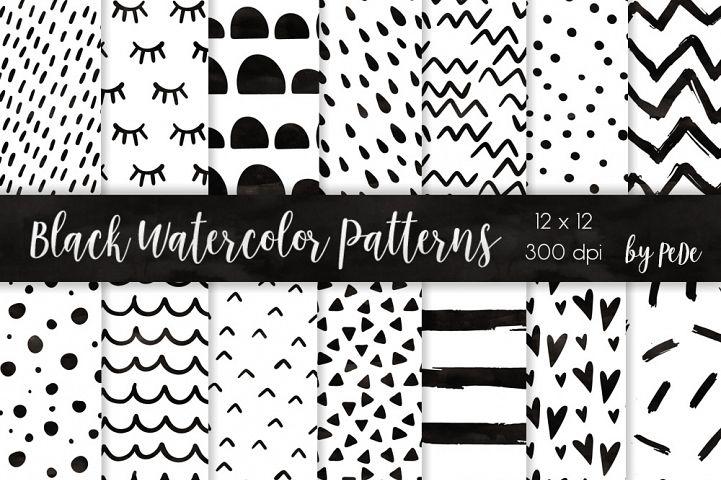 Black Watercolor Patterns