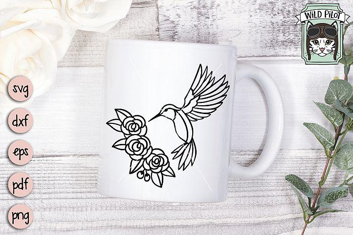Hummingbird SVG file, Bird Cut file, Flower, Floral