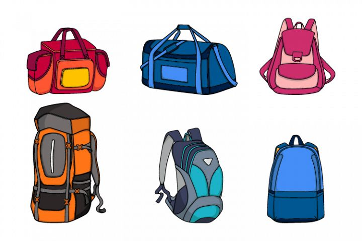 illustration collection of backpacks and handbags