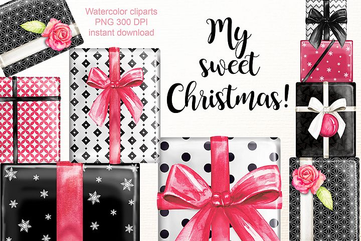 Sweet Christmas gifts clipart.