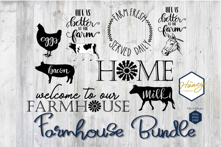 Farmhouse SVG PNG DXF Wood Sign Design Bundle Hand Lettered