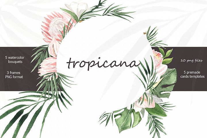 Tropicana watercolor tropical bouquets