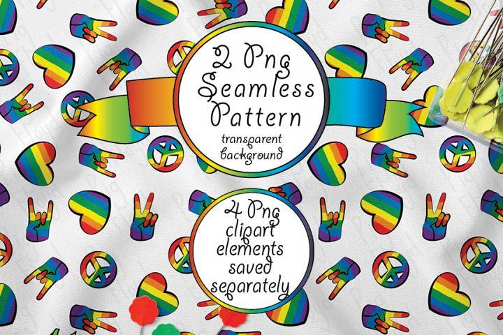 LGBT Seamless Pattern, Clipart Love Peace Rock, LGBTQ pride