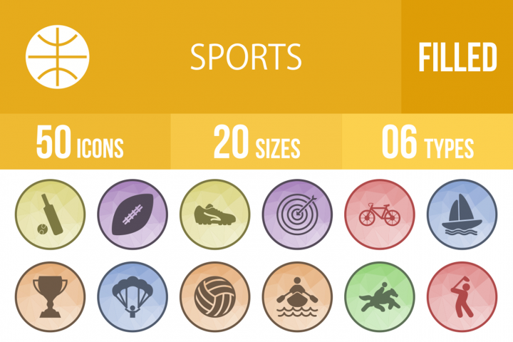 50 Sports Filled Low Poly Icons