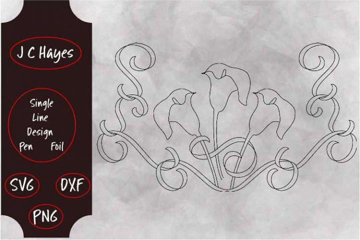 Calla Lily with Ribbon, Single Line File, Sketch Pen, Foil