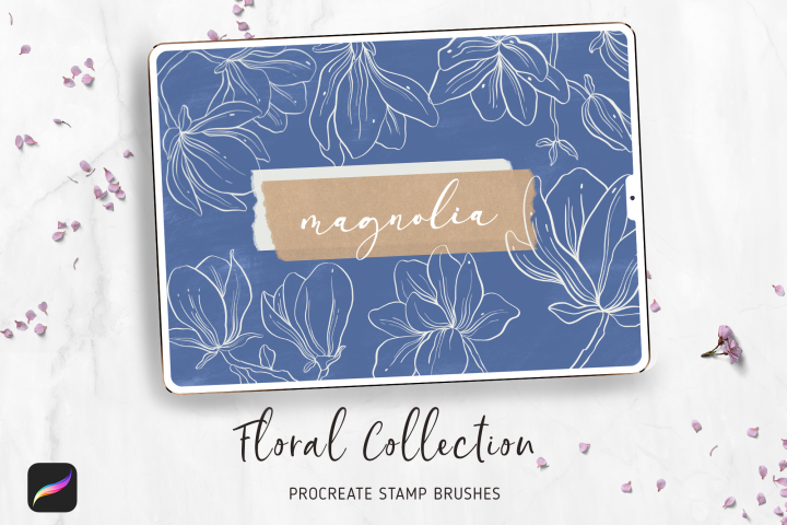 Procreate Flowers Stamps Brushes | 10 Magnolia Stamps