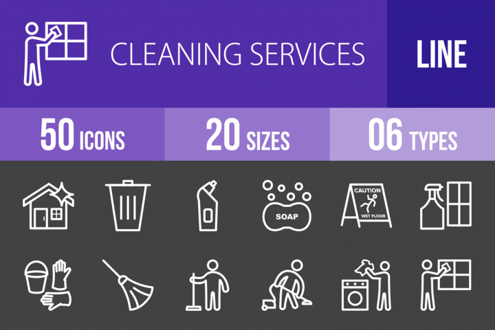 50 Cleaning Services Line Inverted Icons