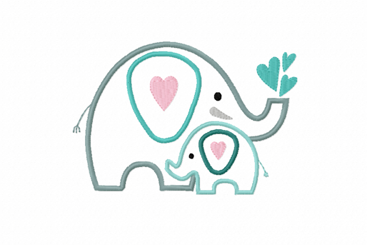 APPLIQUE Mothers Love ~ ELEPHANTS - Mother and Baby ~ Machine Embroidery Design in 2 sizes - Instant Download