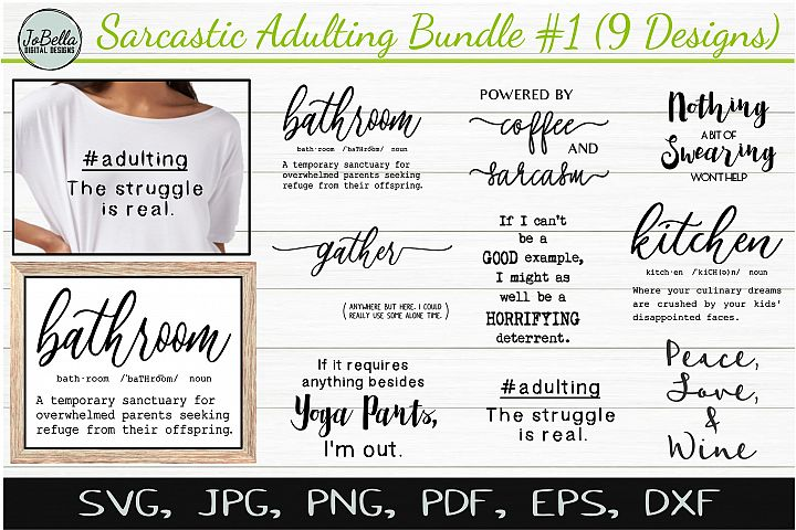 Sarcastic SVG Bundle #1, Sublimation PNGs & Printables
