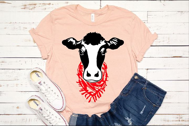 Cow Head whit Scarf SVG cowboy Farm heifer 1270s