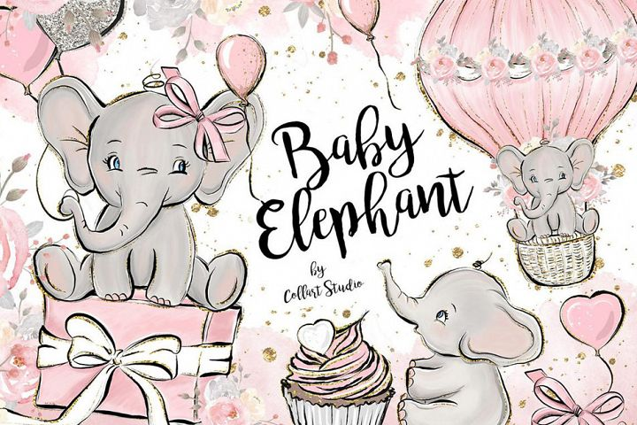 Baby Elephant clipart, Baby girl clipart, birthday clipart