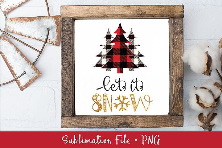 Red Black Lumberjack Plaid Christmas Tree Sublimation File