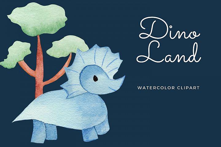 Dino Land watercolor clipart