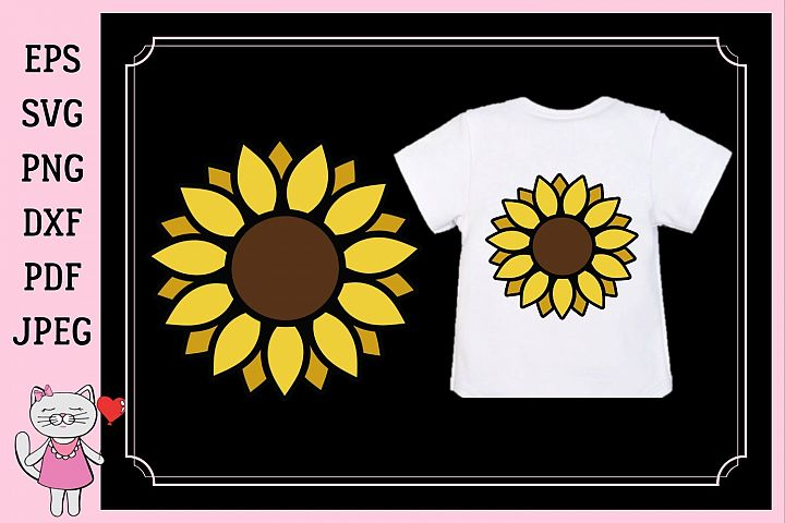 Sunflower monogram, svg, dxf, png, jpg, pdf