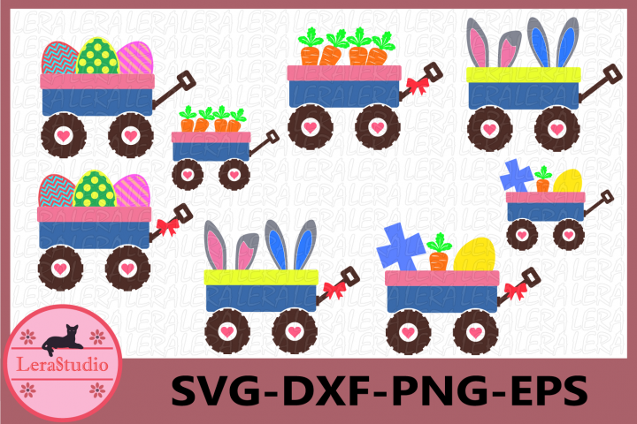 Easter Wagon SVG, Easter Bunny Wagon SVG Files, Carrots