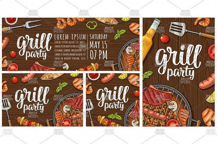 Template restaurant or cafe bbq menu. vintage engraving