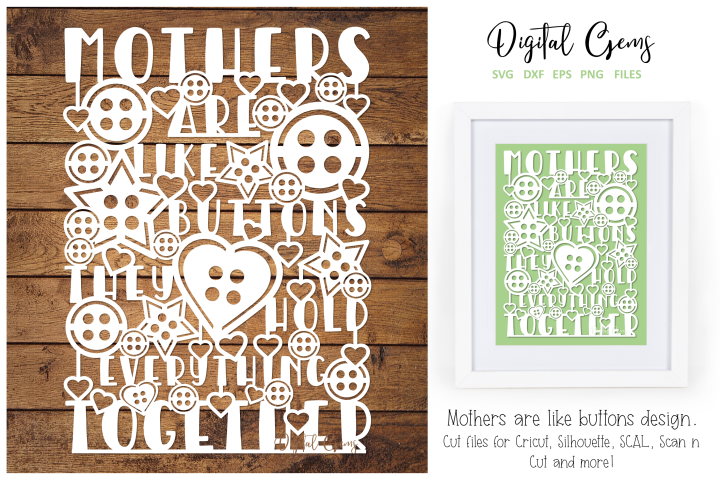 Mothers are like buttons paper cut design SVG / DXF / PNG