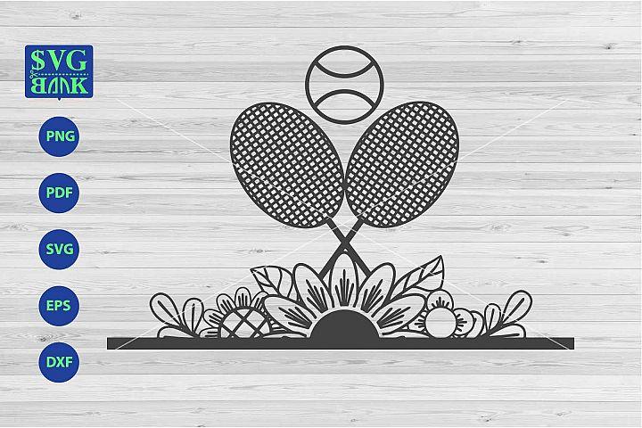 Tennis svg, Tennis with flower cut file, racket svg