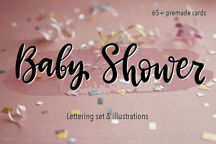 Baby Shower. Lettering&Illustrations set.