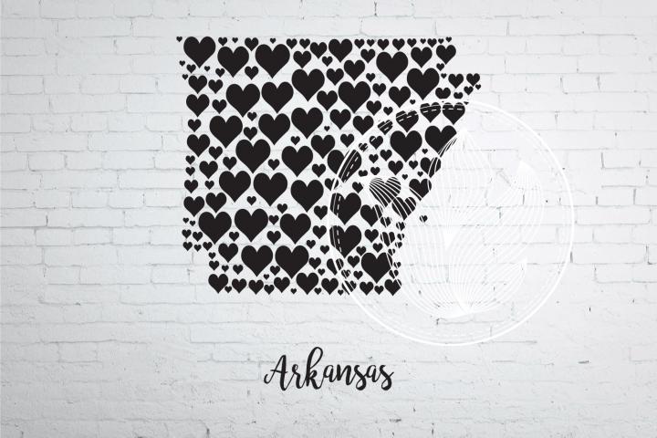 Arkansas heart map jpg, png, eps, svg, dxf, pdf