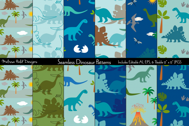 Seamless Dinosaur Patterns