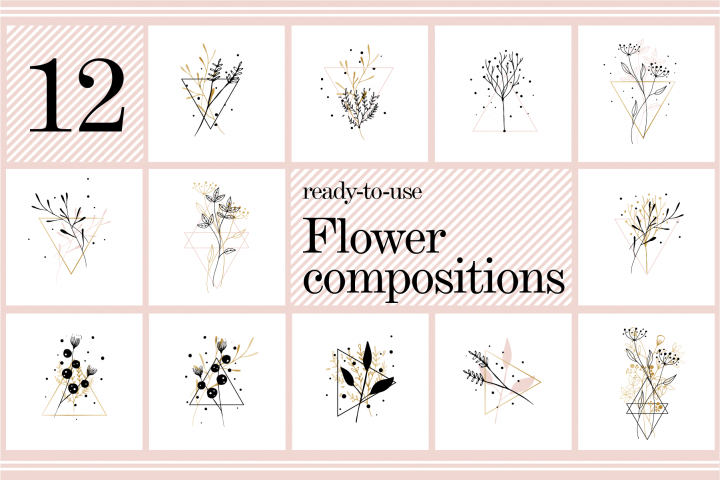 12 black and gold flower composition