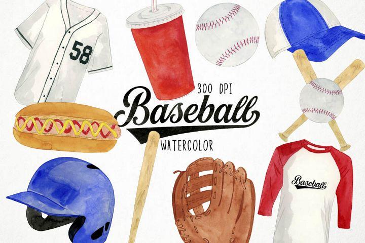 Watercolor Baseball Clipart, Sports Clipart