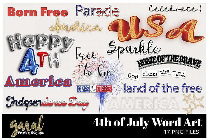4th OF JULY WORD ART, Photoshop Overlays, 17 PNGs