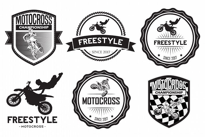 set of motocross badge logo vector