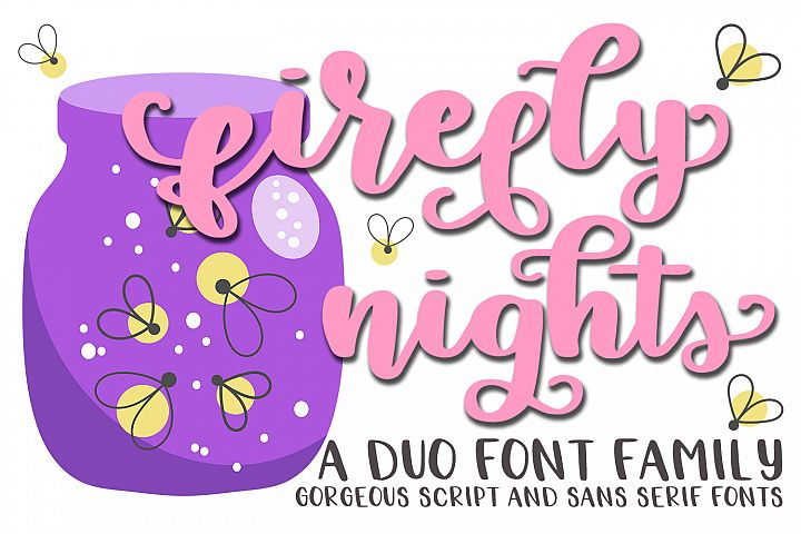 Firefly Nights - A Duo Font Family - Pretty Script