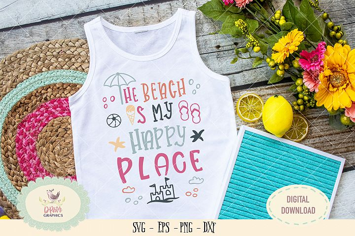 The beach is my happy place SVG cut file beach quote svg