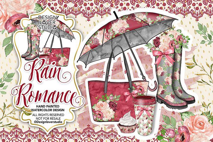 Watercolor Rain Romance design - Free Design of The Week