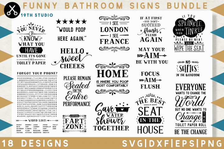Funny Bathroom sign SVG Bundle - M32B