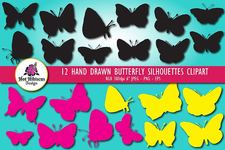 Hand Drawn Butterfly Silhouettes Clipart Bundle