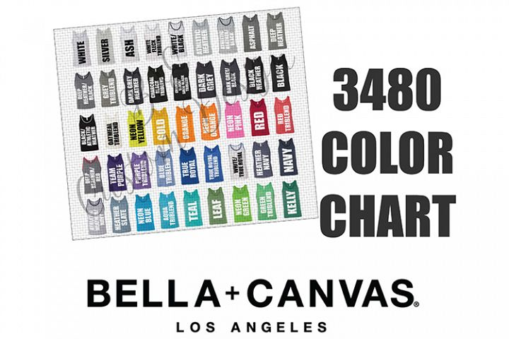 Bella 3480 Unisex Tank Top Color Chart