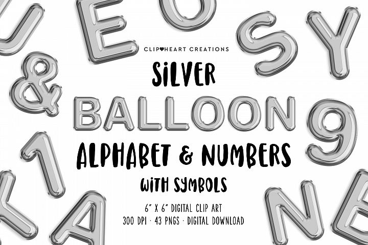 Silver Foil Balloon Alphabet & Numbers