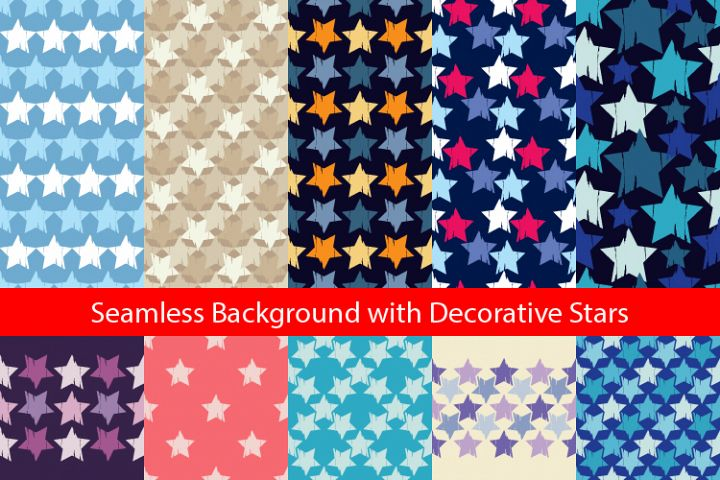 Seamless background with decorative stars.