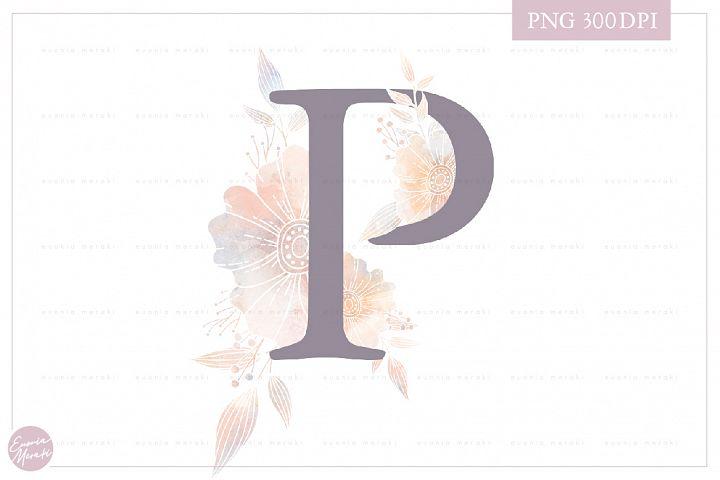 Letter P Floral MONOGRAM - elegant wedding flower initial