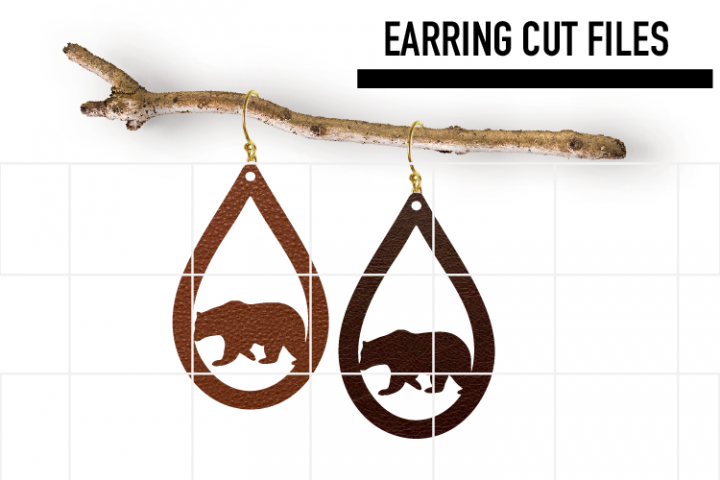 Bear Earrings Svg / Leather / Faux / Wood / Laser Cut Files