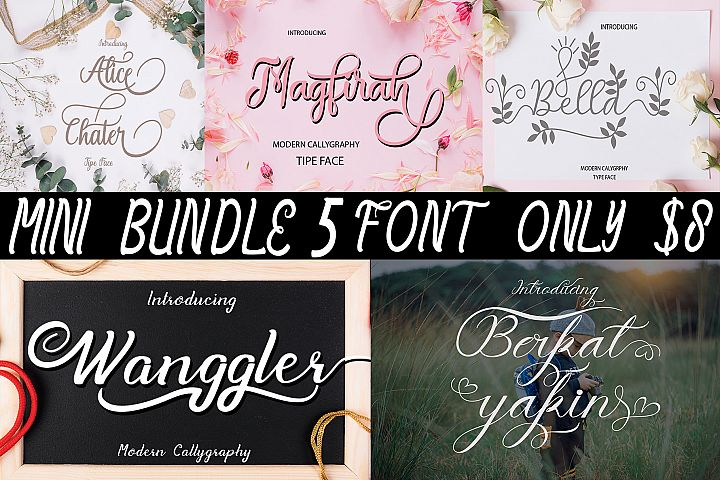 MINI BUNDLE 5 FONT ONLY $8