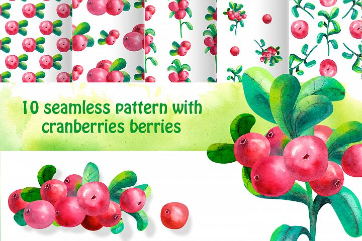 10 seamless background with cowberry leaves and berries.