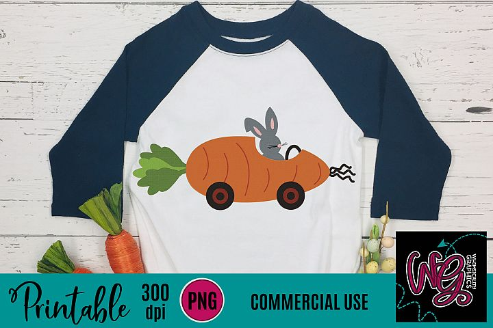 Carrot Racer With Bunny Sublimation Printable