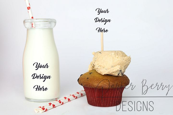 Cookie dough Cupcake Topper, Glass Milk Mock up with Straws