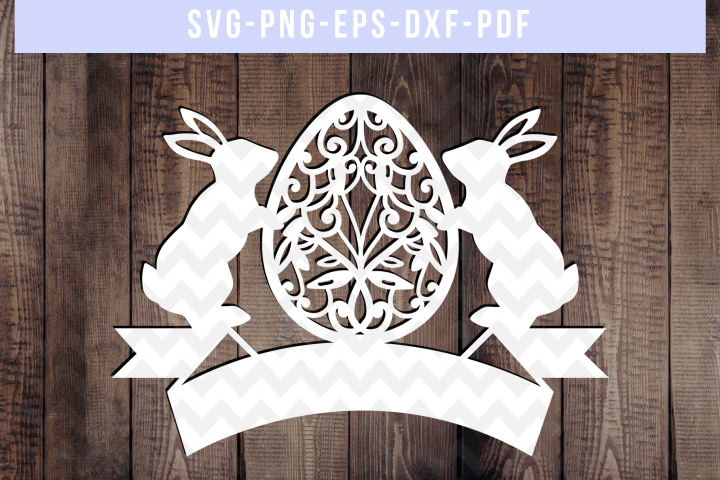 Customizable Easter Papercut Template, Spring Decor, SVG DXF