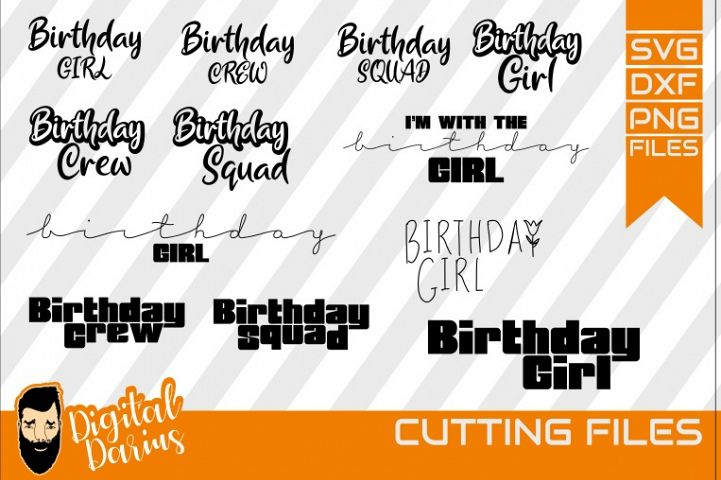 12x Birthday Bundle svg, Birthday Girl, Birthday Crew dxf