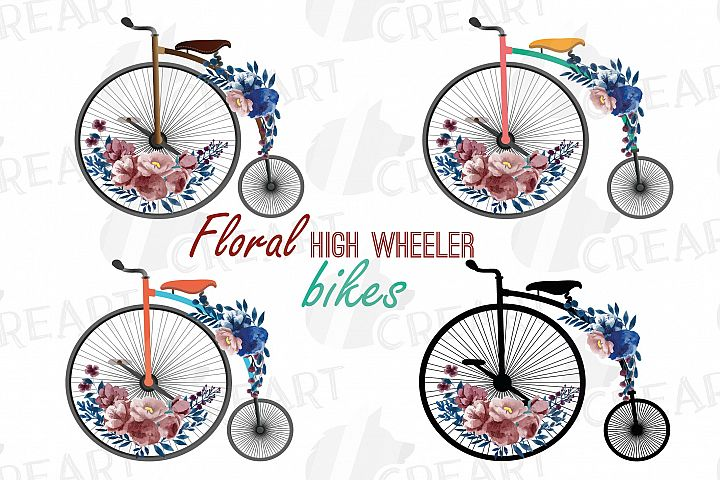 Navy blue and blush floral high wheelers clip art pack